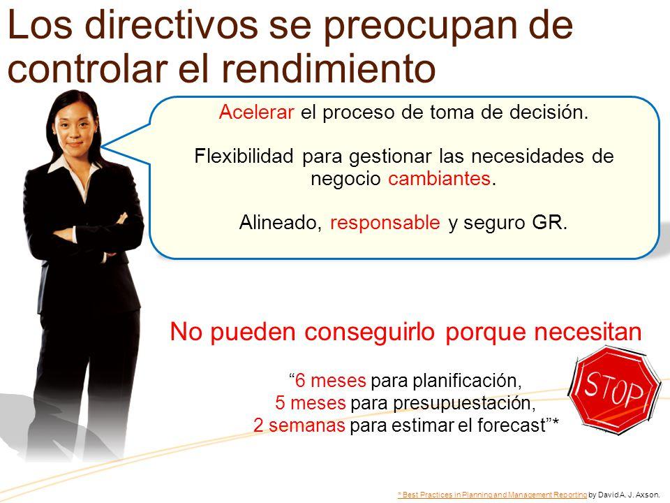 Los directivos se preocupan de controlar el rendimiento Acelerar el proceso de toma de decisión. Flexibilidad para gestionar las necesidades de negoci