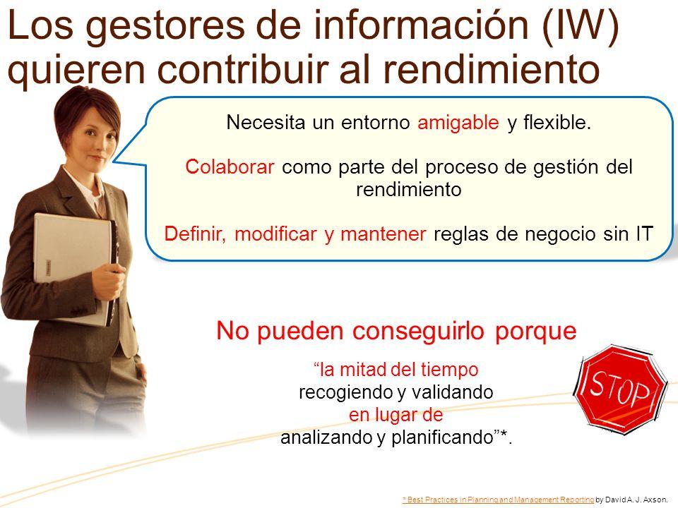 Los gestores de información (IW) quieren contribuir al rendimiento Necesita un entorno amigable y flexible.