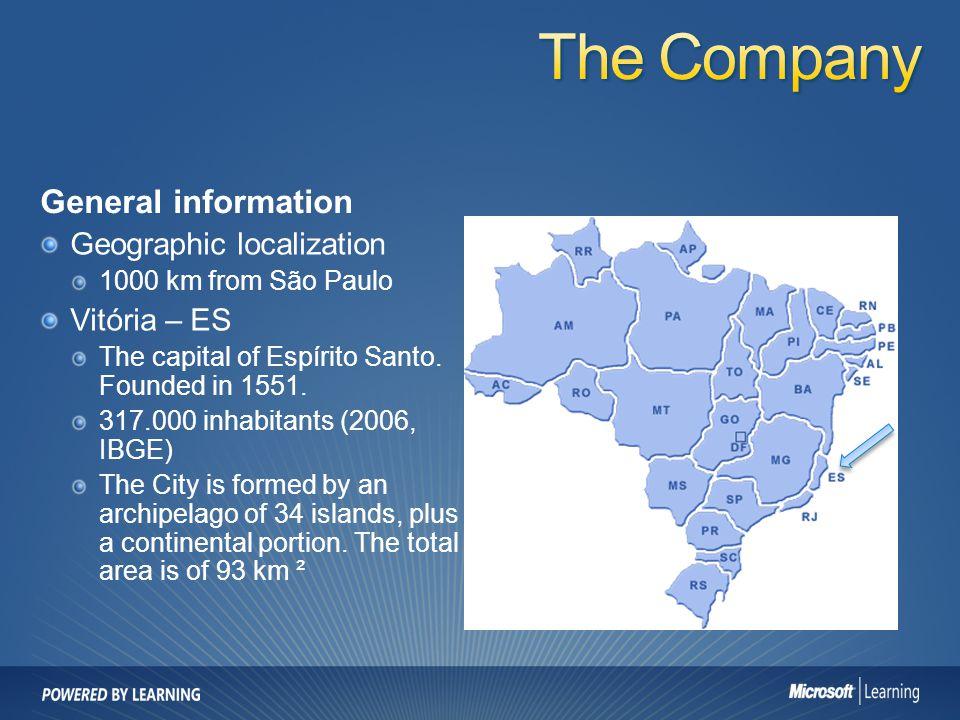 General information Geographic localization 1000 km from São Paulo Vitória – ES The capital of Espírito Santo.