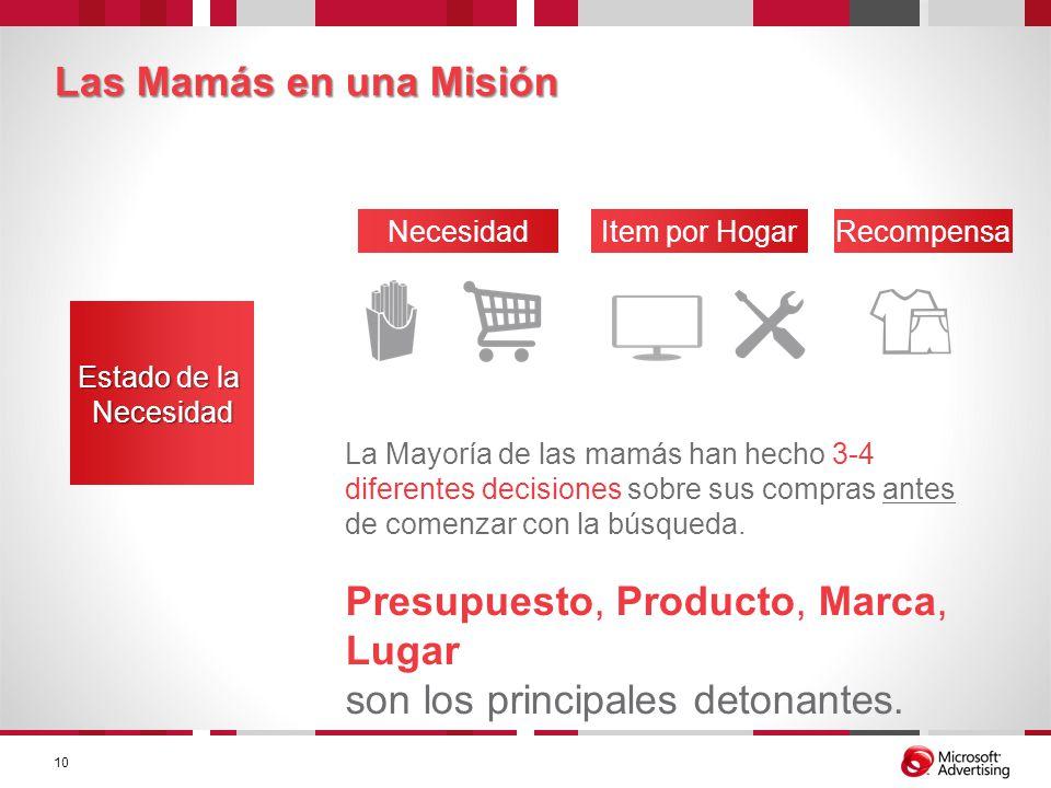 Las Mamás en una Misión La Mayoría de las mamás han hecho 3-4 diferentes decisiones sobre sus compras antes de comenzar con la búsqueda. Presupuesto,
