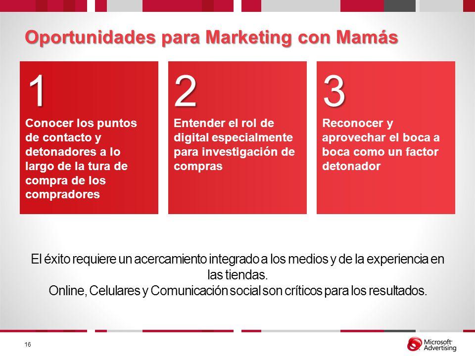 Oportunidades para Marketing con Mamás El éxito requiere un acercamiento integrado a los medios y de la experiencia en las tiendas. Online, Celulares