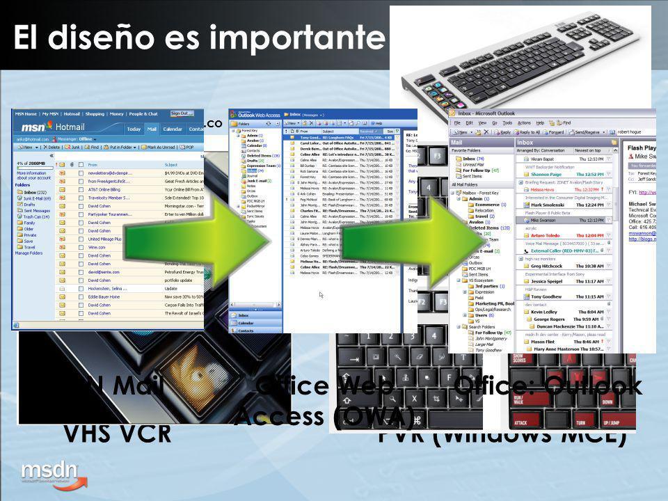 Agregación con RSS Exponer información como Feed RSS Simplifica: –Descubrimiento –Suscripción –Sincronización Plataforma RSS –Internet Explorer 7 –Outlook 2007 –Windows Vista A