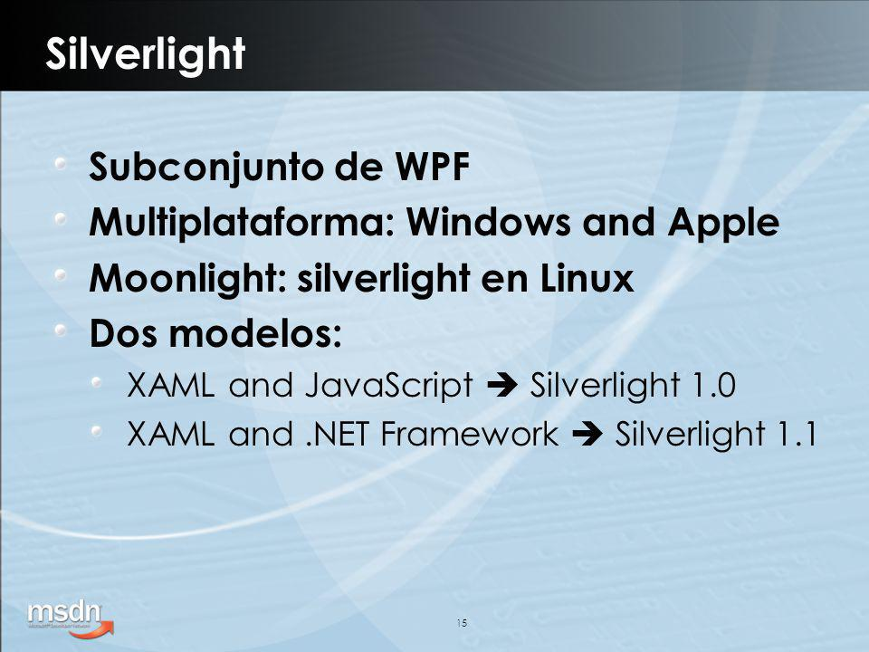 15 Silverlight Subconjunto de WPF Multiplataforma: Windows and Apple Moonlight: silverlight en Linux Dos modelos: XAML and JavaScript Silverlight 1.0 XAML and.NET Framework Silverlight 1.1