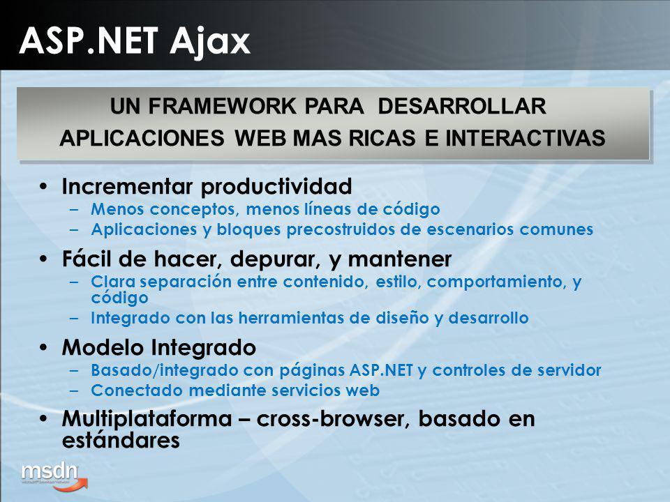 ASP.NET Ajax Incrementar productividad – Menos conceptos, menos líneas de código – Aplicaciones y bloques precostruidos de escenarios comunes Fácil de hacer, depurar, y mantener – Clara separación entre contenido, estilo, comportamiento, y código – Integrado con las herramientas de diseño y desarrollo Modelo Integrado – Basado/integrado con páginas ASP.NET y controles de servidor – Conectado mediante servicios web Multiplataforma – cross-browser, basado en estándares UN FRAMEWORK PARA DESARROLLAR APLICACIONES WEB MAS RICAS E INTERACTIVAS UN FRAMEWORK PARA DESARROLLAR APLICACIONES WEB MAS RICAS E INTERACTIVAS