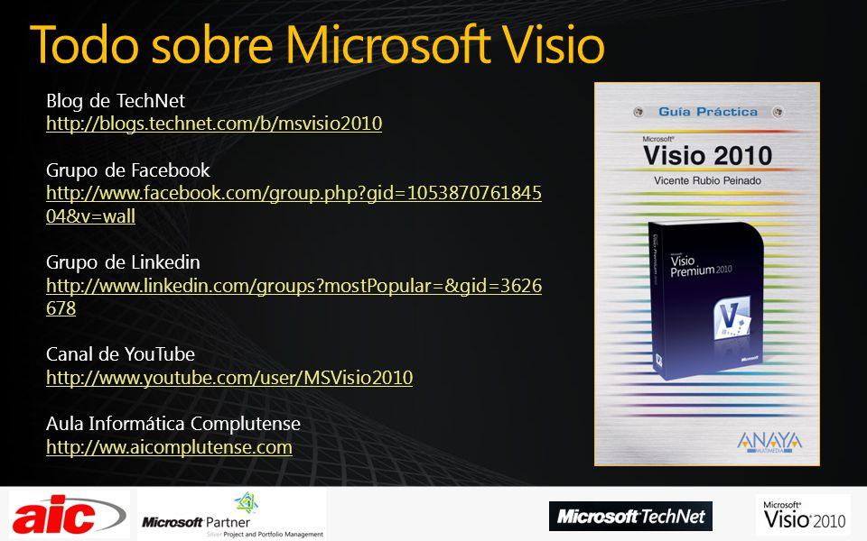 Todo sobre Microsoft Visio Blog de TechNet http://blogs.technet.com/b/msvisio2010 Grupo de Facebook http://www.facebook.com/group.php gid=1053870761845 04&v=wall Grupo de Linkedin http://www.linkedin.com/groups mostPopular=&gid=3626 678 Canal de YouTube http://www.youtube.com/user/MSVisio2010 Aula Informática Complutense http://ww.aicomplutense.com