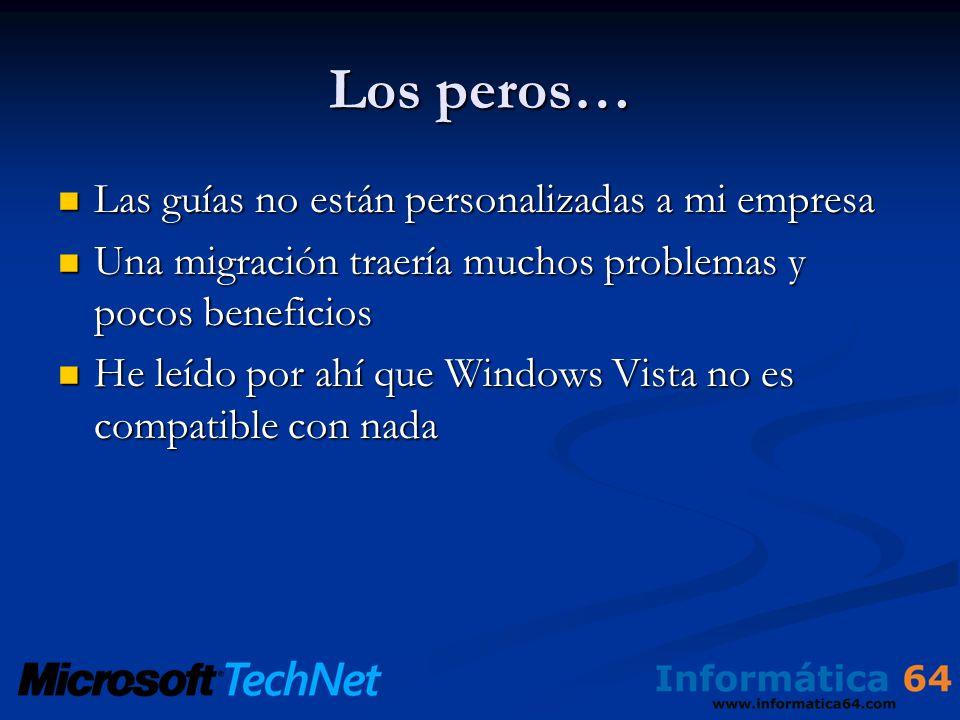 Los peros… Las guías no están personalizadas a mi empresa Las guías no están personalizadas a mi empresa Una migración traería muchos problemas y pocos beneficios Una migración traería muchos problemas y pocos beneficios He leído por ahí que Windows Vista no es compatible con nada He leído por ahí que Windows Vista no es compatible con nada