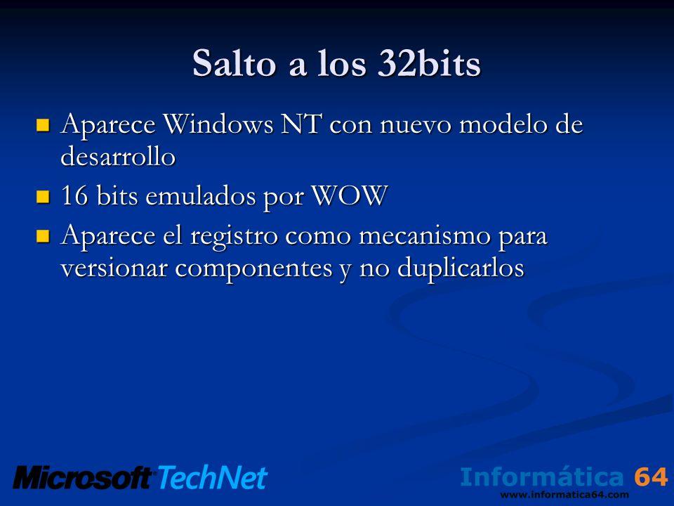 Salto a los 32bits Aparece Windows NT con nuevo modelo de desarrollo Aparece Windows NT con nuevo modelo de desarrollo 16 bits emulados por WOW 16 bits emulados por WOW Aparece el registro como mecanismo para versionar componentes y no duplicarlos Aparece el registro como mecanismo para versionar componentes y no duplicarlos