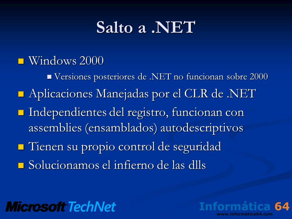 Salto a.NET Windows 2000 Windows 2000 Versiones posteriores de.NET no funcionan sobre 2000 Versiones posteriores de.NET no funcionan sobre 2000 Aplicaciones Manejadas por el CLR de.NET Aplicaciones Manejadas por el CLR de.NET Independientes del registro, funcionan con assemblies (ensamblados) autodescriptivos Independientes del registro, funcionan con assemblies (ensamblados) autodescriptivos Tienen su propio control de seguridad Tienen su propio control de seguridad Solucionamos el infierno de las dlls Solucionamos el infierno de las dlls