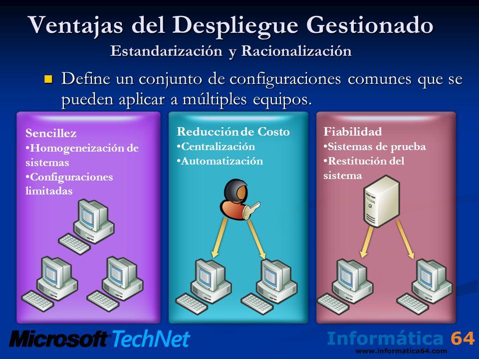 Ventajas del Despliegue Gestionado Estandarización y Racionalización Define un conjunto de configuraciones comunes que se pueden aplicar a múltiples e
