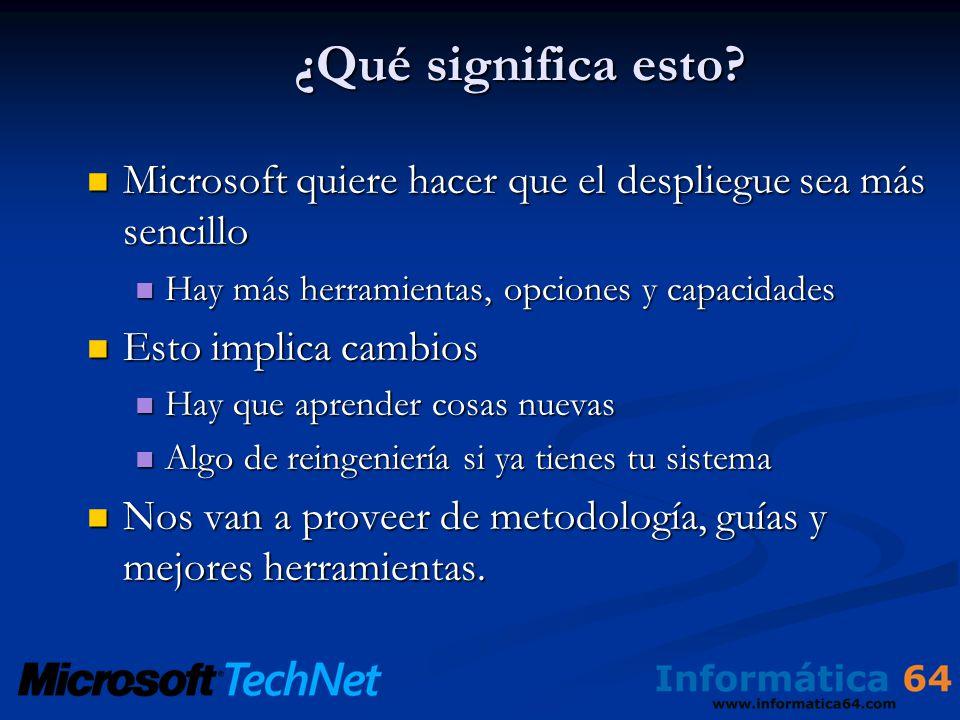 ¿Qué significa esto? Microsoft quiere hacer que el despliegue sea más sencillo Microsoft quiere hacer que el despliegue sea más sencillo Hay más herra