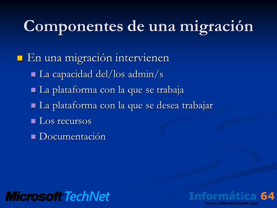 Componentes de una migración En una migración intervienen En una migración intervienen La capacidad del/los admin/s La capacidad del/los admin/s La plataforma con la que se trabaja La plataforma con la que se trabaja La plataforma con la que se desea trabajar La plataforma con la que se desea trabajar Los recursos Los recursos Documentación Documentación