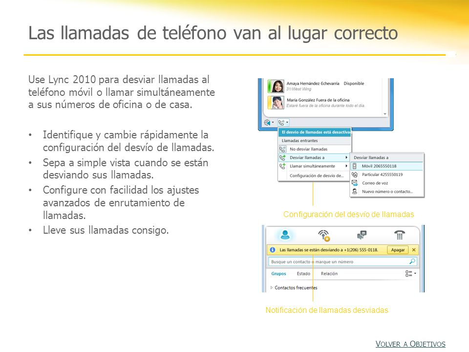 Las llamadas de teléfono van al lugar correcto Use Lync 2010 para desviar llamadas al teléfono móvil o llamar simultáneamente a sus números de oficina o de casa.