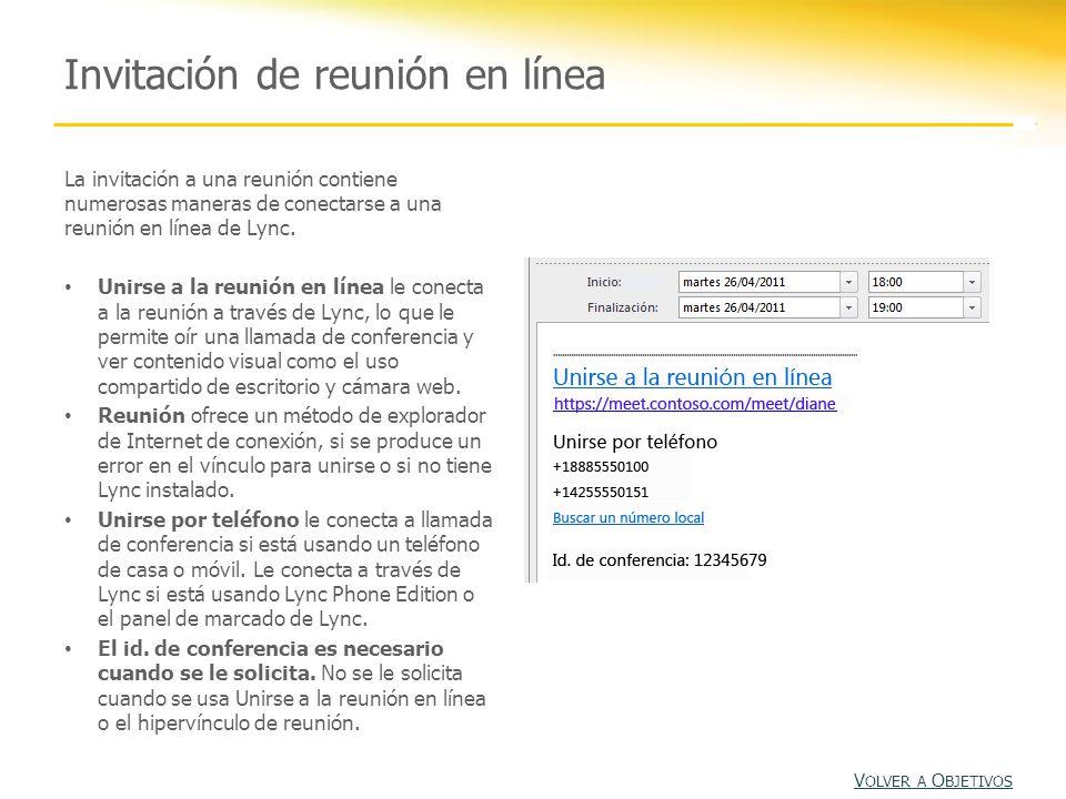 Invitación de reunión en línea La invitación a una reunión contiene numerosas maneras de conectarse a una reunión en línea de Lync.