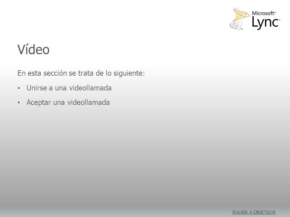 Objetivos de vídeo En esta sección se trata de lo siguiente: Unirse a una videollamada Aceptar una videollamada Vídeo V OLVER A O BJETIVOS