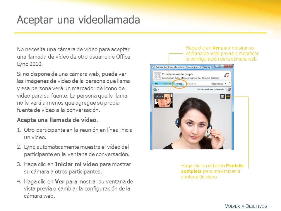 No necesita una cámara de vídeo para aceptar una llamada de vídeo de otro usuario de Office Lync 2010.