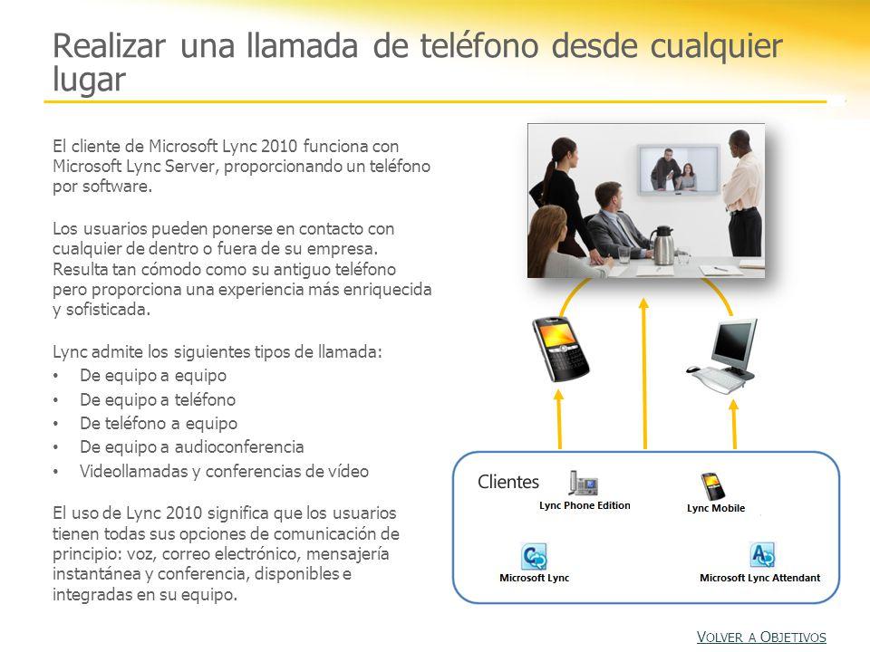 Realizar una llamada de teléfono desde cualquier lugar El cliente de Microsoft Lync 2010 funciona con Microsoft Lync Server, proporcionando un teléfono por software.