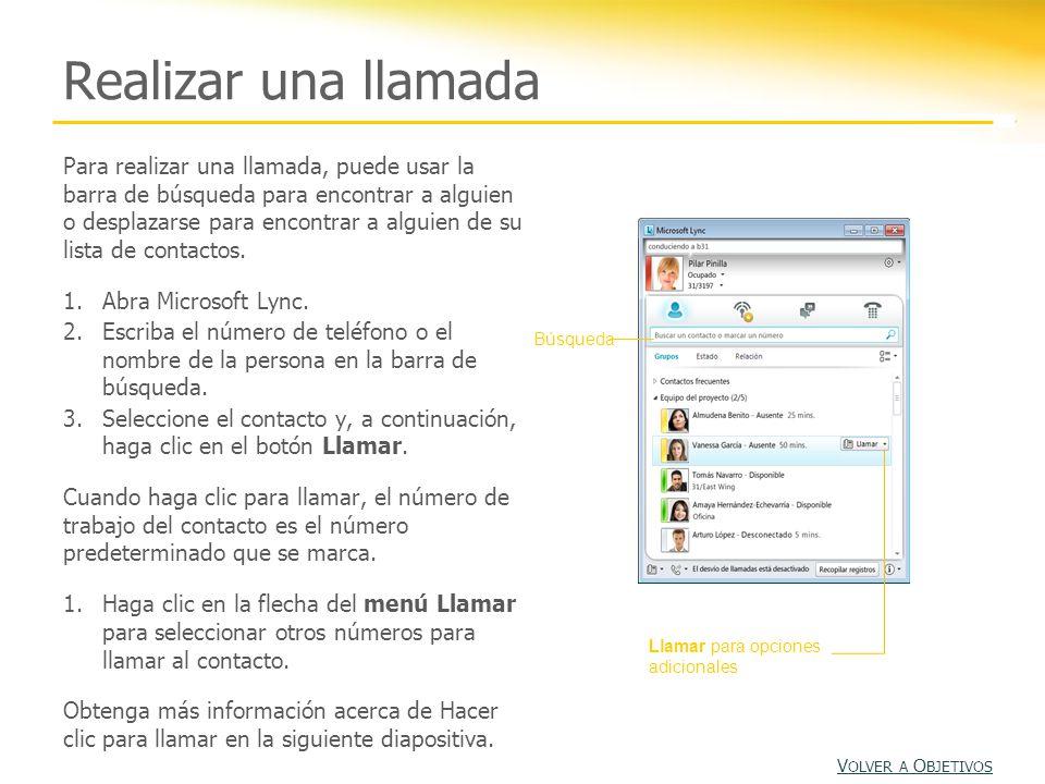 Hacer clic para llamar Lync 2010 ofrece la característica Hacer clic para llamar.