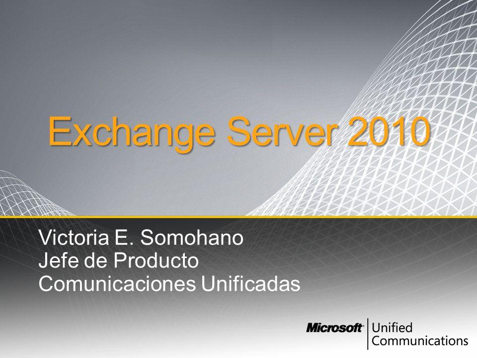 Exchange Server 2010 Victoria E. Somohano Jefe de Producto Comunicaciones Unificadas