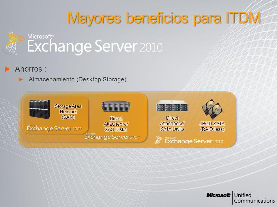 Ahorros : Almacenamiento (Desktop Storage) Mayores beneficios para ITDM
