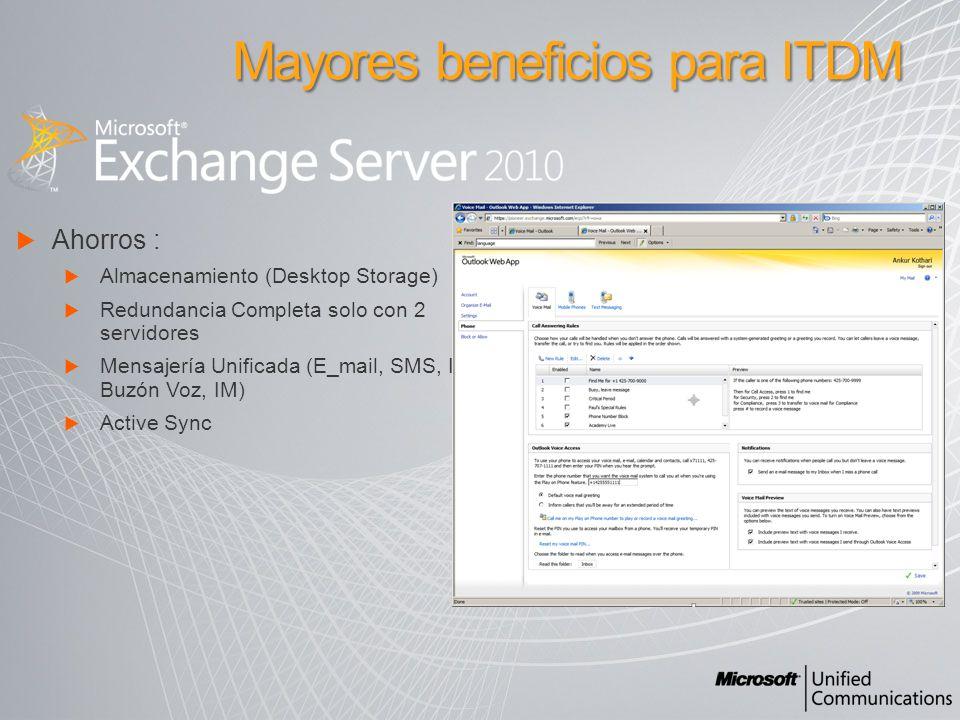 Ahorros : Almacenamiento (Desktop Storage) Redundancia Completa solo con 2 servidores Mensajería Unificada (E_mail, SMS, IM, Buzón Voz, IM) Active Sync Mayores beneficios para ITDM