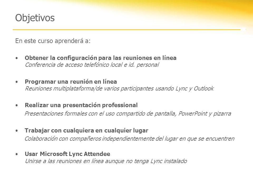 Microsoft Lync 2010 Attendee Lync Attendee es un cliente enriquecido que le permite participar en reuniones en línea.