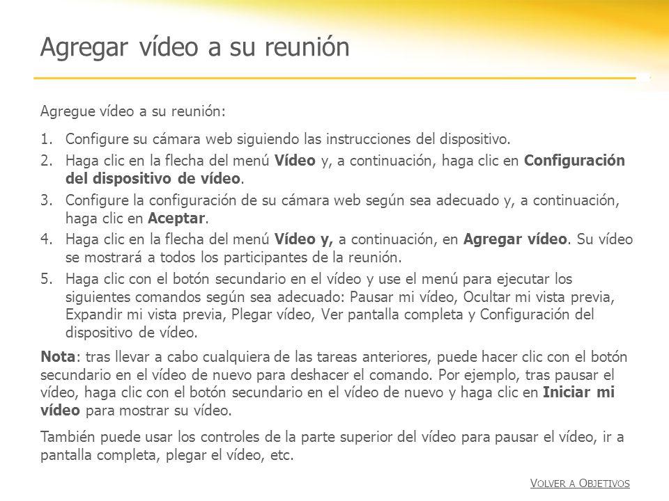Agregar vídeo a su reunión Agregue vídeo a su reunión: 1.Configure su cámara web siguiendo las instrucciones del dispositivo. 2.Haga clic en la flecha