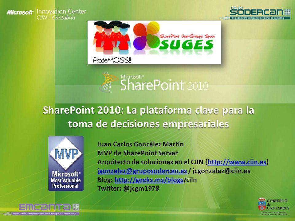 SharePoint 2010: La plataforma clave para la toma de decisiones empresariales Juan Carlos González Martín MVP de SharePoint Server Arquitecto de soluc