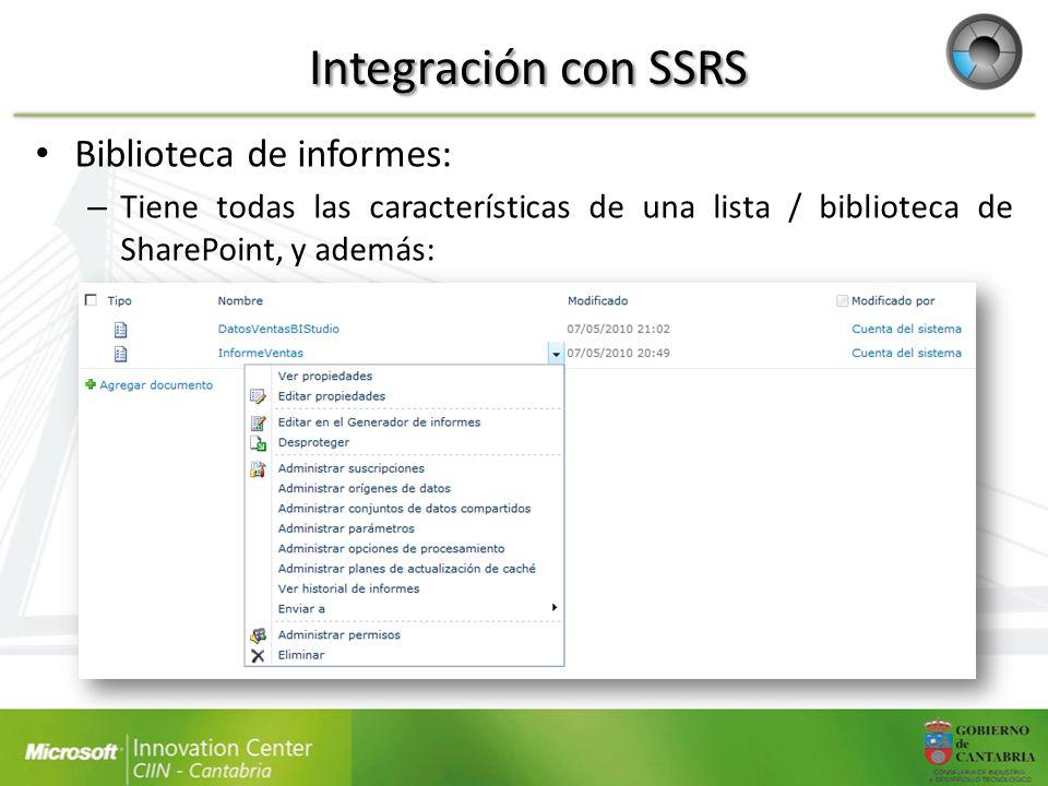 Biblioteca de informes: – Tiene todas las características de una lista / biblioteca de SharePoint, y además: