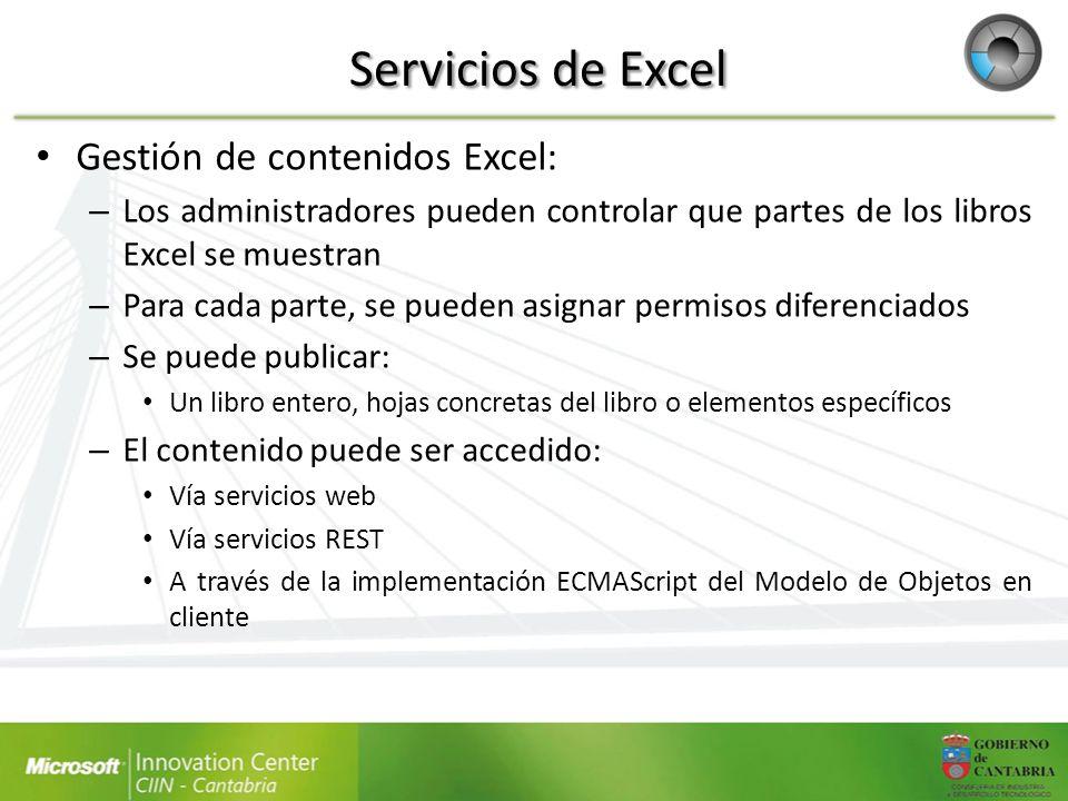 Servicios de Excel Gestión de contenidos Excel: – Los administradores pueden controlar que partes de los libros Excel se muestran – Para cada parte, s