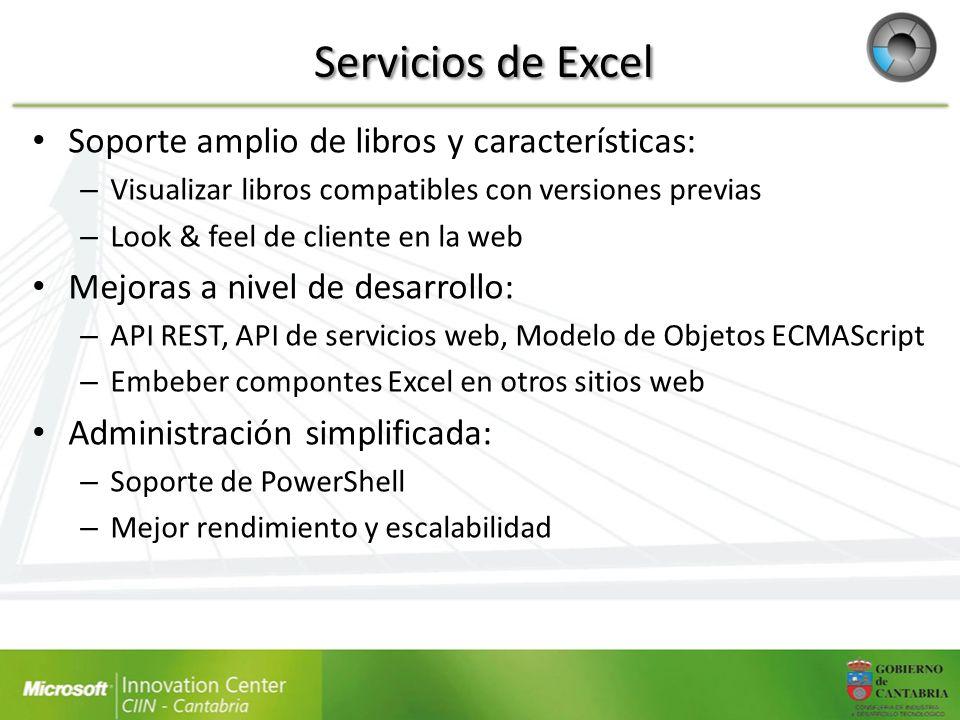 Servicios de Excel Soporte amplio de libros y características: – Visualizar libros compatibles con versiones previas – Look & feel de cliente en la we