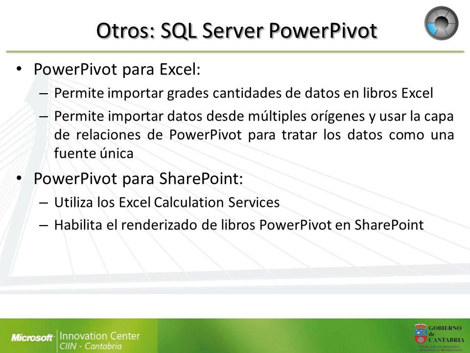 Otros: SQL Server PowerPivot PowerPivot para Excel: – Permite importar grades cantidades de datos en libros Excel – Permite importar datos desde múlti
