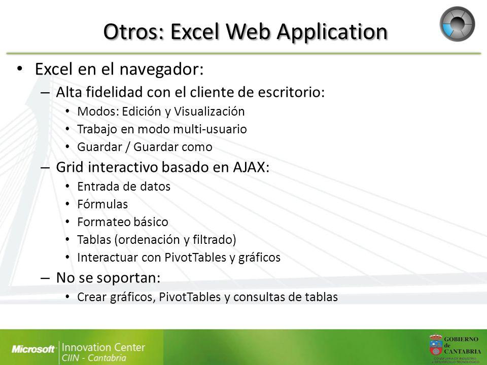 Otros: Excel Web Application Excel en el navegador: – Alta fidelidad con el cliente de escritorio: Modos: Edición y Visualización Trabajo en modo mult