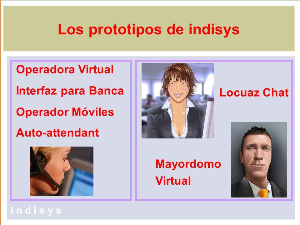 Los prototipos de indisys Operadora Virtual Mayordomo Virtual Interfaz para Banca i n d i s y s Operador Móviles Locuaz Chat Auto-attendant