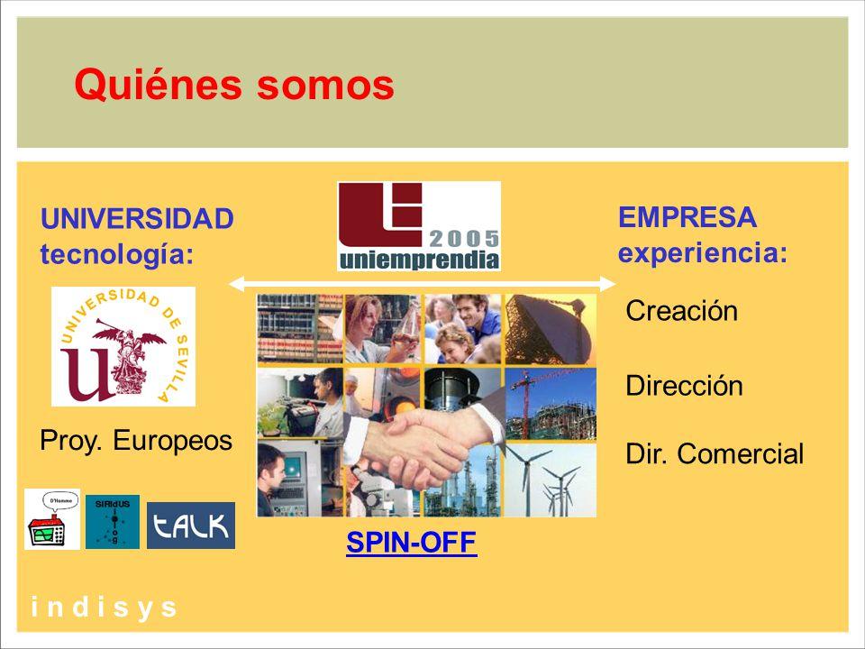 Quiénes somos Proy. Europeos SPIN-OFF +12 años Dirección Creación Dir. Comercial i n d i s y s UNIVERSIDAD tecnología: EMPRESA experiencia: