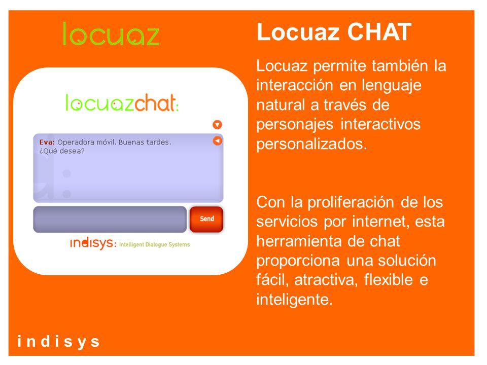 Locuaz CHAT Locuaz permite también la interacción en lenguaje natural a través de personajes interactivos personalizados. Con la proliferación de los