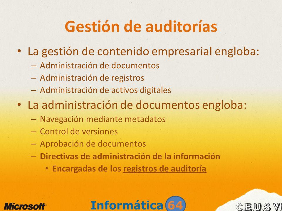 La gestión de contenido empresarial engloba: – Administración de documentos – Administración de registros – Administración de activos digitales La adm