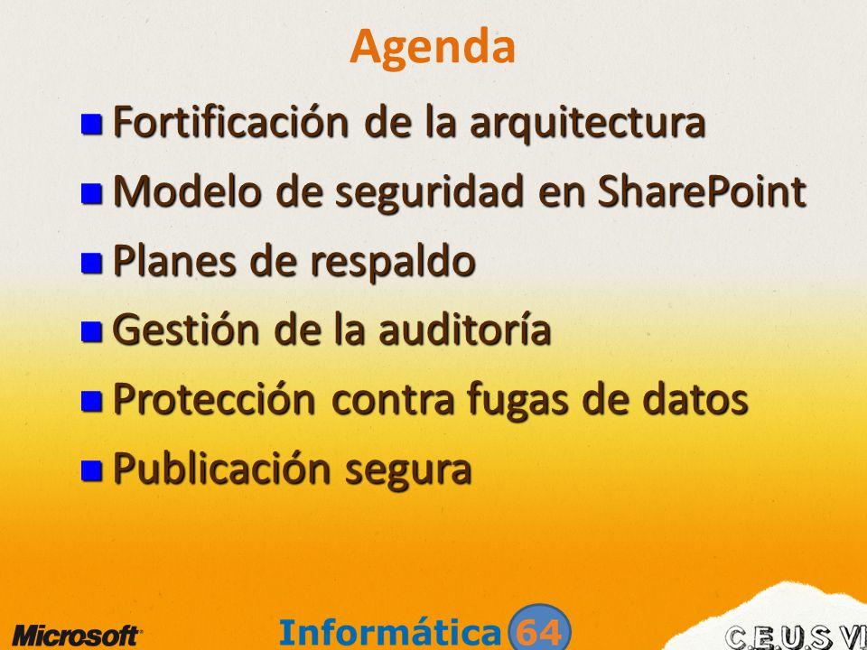 Agenda Fortificación de la arquitectura Fortificación de la arquitectura Modelo de seguridad en SharePoint Modelo de seguridad en SharePoint Planes de