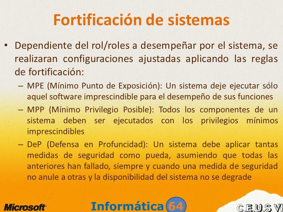 Fortificación de sistemas Dependiente del rol/roles a desempeñar por el sistema, se realizaran configuraciones ajustadas aplicando las reglas de forti