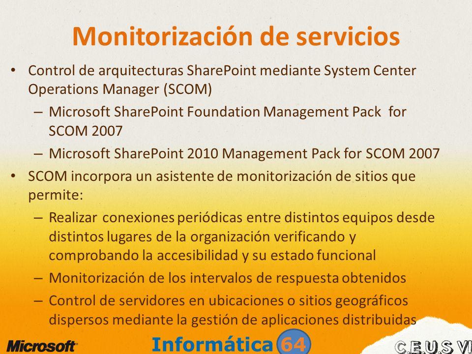 Monitorización de servicios Control de arquitecturas SharePoint mediante System Center Operations Manager (SCOM) – Microsoft SharePoint Foundation Man