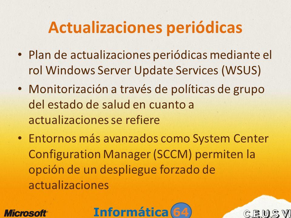 Actualizaciones periódicas Plan de actualizaciones periódicas mediante el rol Windows Server Update Services (WSUS) Monitorización a través de polític