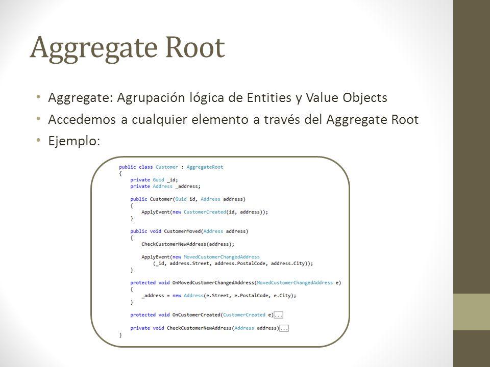 Aggregate Root Aggregate: Agrupación lógica de Entities y Value Objects Accedemos a cualquier elemento a través del Aggregate Root Ejemplo: