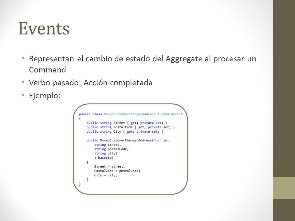 Events Representan el cambio de estado del Aggregate al procesar un Command Verbo pasado: Acción completada Ejemplo: