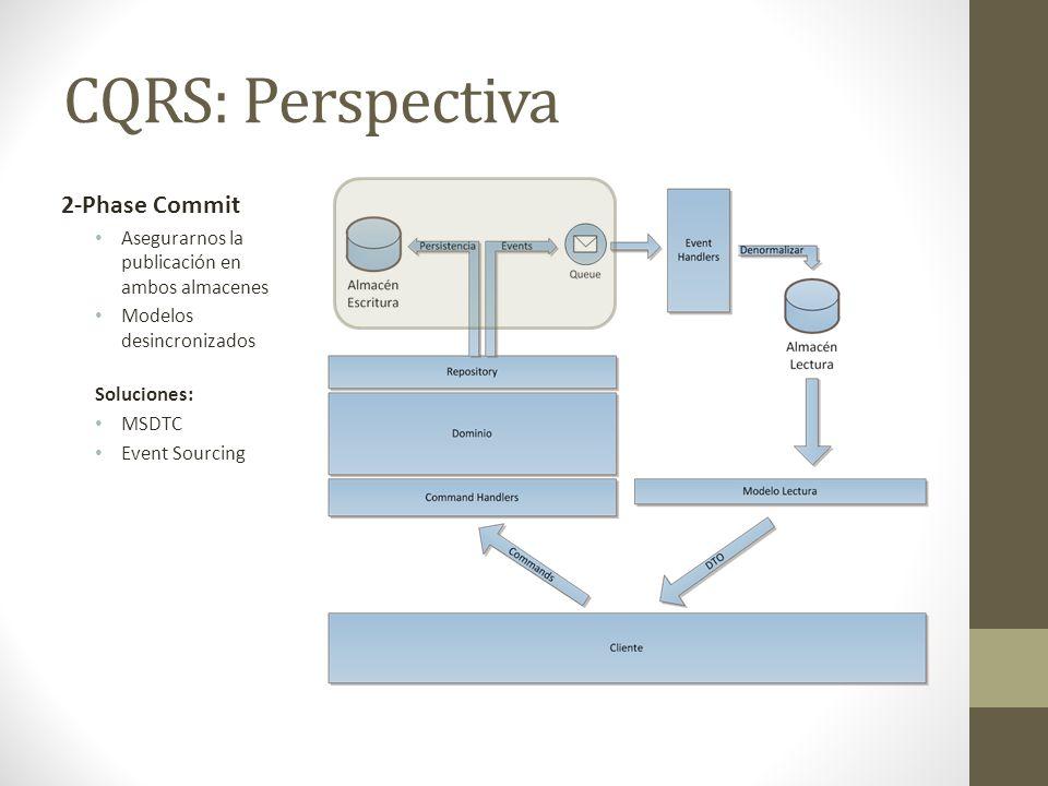 CQRS: Perspectiva 2-Phase Commit Asegurarnos la publicación en ambos almacenes Modelos desincronizados Soluciones: MSDTC Event Sourcing
