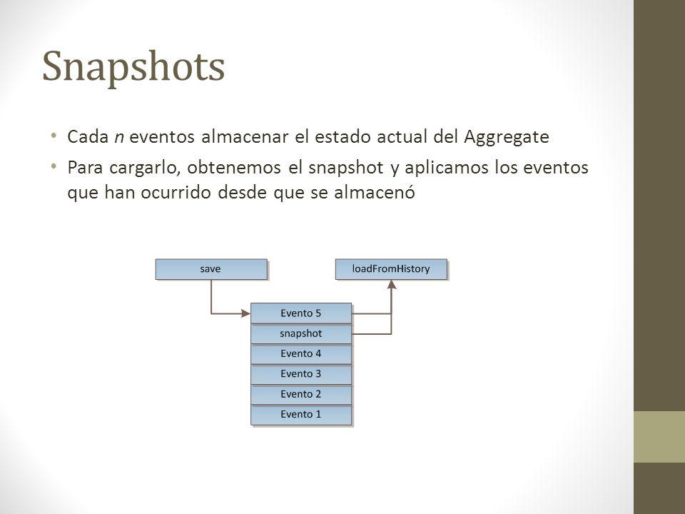 Snapshots Cada n eventos almacenar el estado actual del Aggregate Para cargarlo, obtenemos el snapshot y aplicamos los eventos que han ocurrido desde