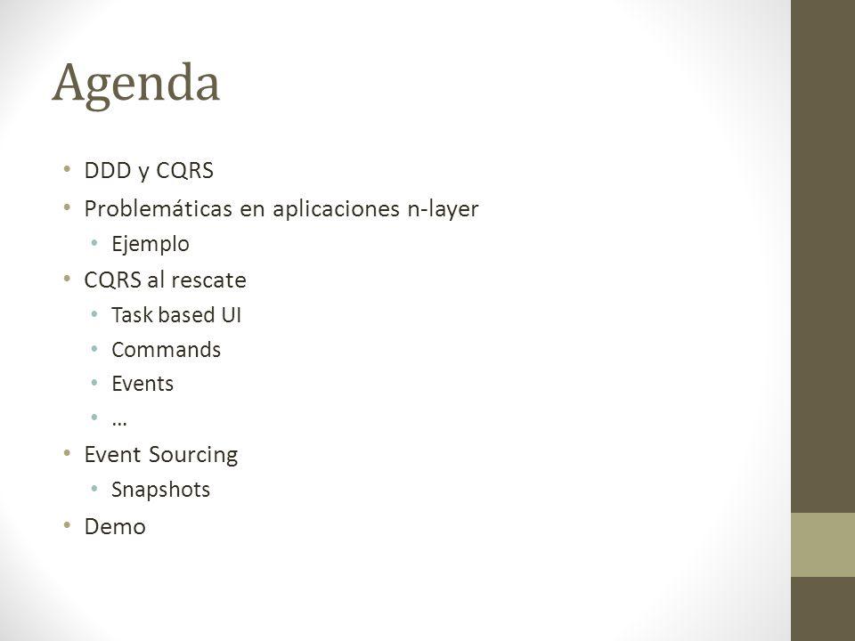 Agenda DDD y CQRS Problemáticas en aplicaciones n-layer Ejemplo CQRS al rescate Task based UI Commands Events … Event Sourcing Snapshots Demo