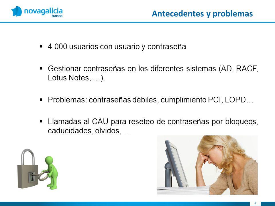 44 Antecedentes y problemas 4.000 usuarios con usuario y contraseña. Gestionar contraseñas en los diferentes sistemas (AD, RACF, Lotus Notes, …). Prob