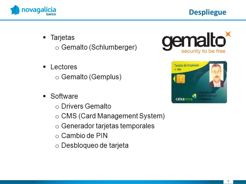 66 Despliegue Tarjetas o Gemalto (Schlumberger) Lectores o Gemalto (Gemplus) Software o Drivers Gemalto o CMS (Card Management System) o Generador tar