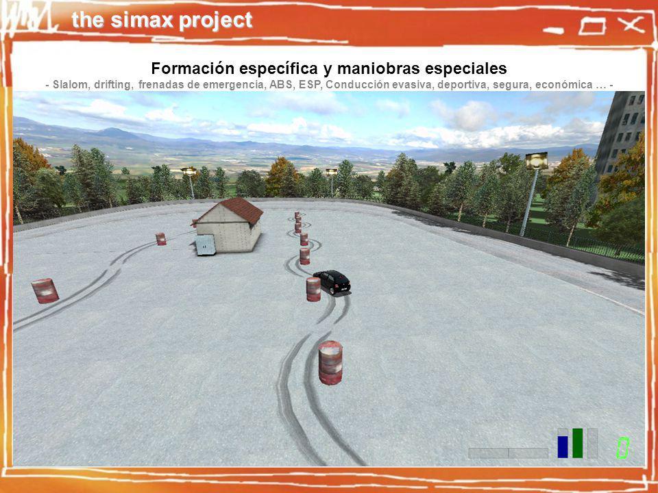 the simax project Formación específica y maniobras especiales - Slalom, drifting, frenadas de emergencia, ABS, ESP, Conducción evasiva, deportiva, segura, económica … -