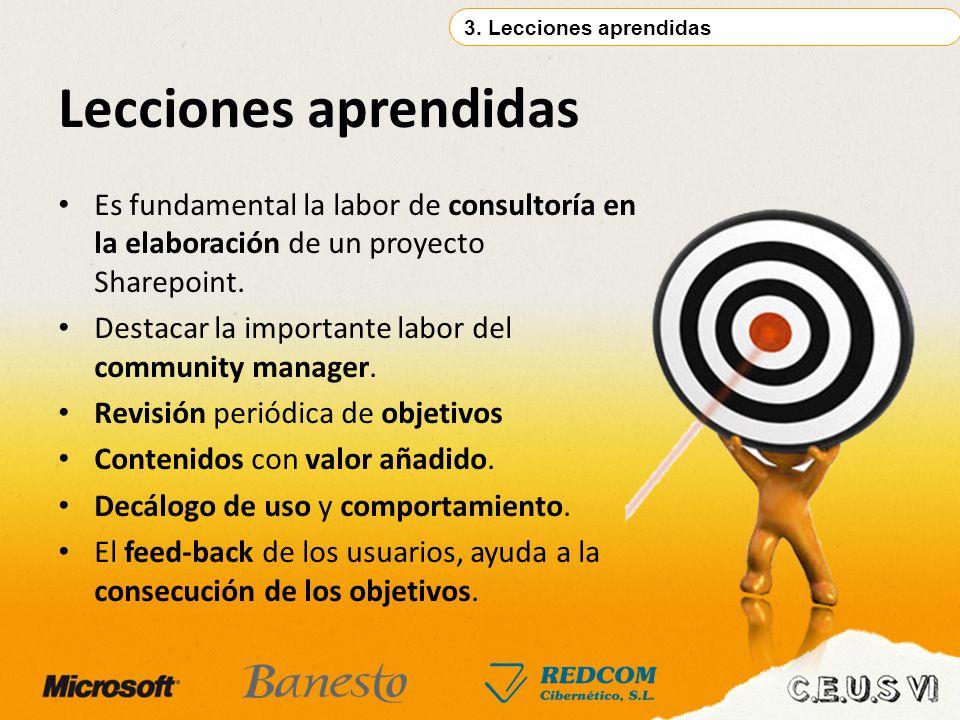 Lecciones aprendidas 3. Lecciones aprendidas Es fundamental la labor de consultoría en la elaboración de un proyecto Sharepoint. Destacar la important