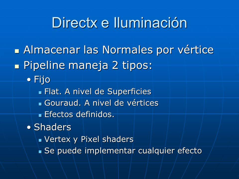 Directx e Iluminación Almacenar las Normales por vértice Almacenar las Normales por vértice Pipeline maneja 2 tipos: Pipeline maneja 2 tipos: FijoFijo